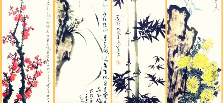 """""""梅兰竹菊君子风,诗书画印翰墨情""""研究院副院长、藏名诗诗人、书画家李玉宝到访文化名人网春雨阁"""