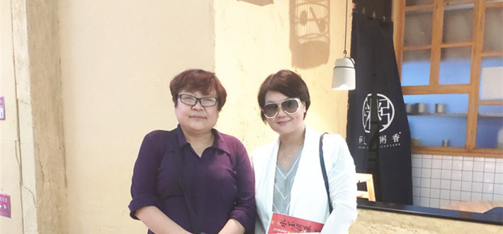 原野、萧锋等在北京拜访中央电视台12频道编导付立新女士